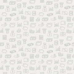 Money seamless pattern. Background with icons.