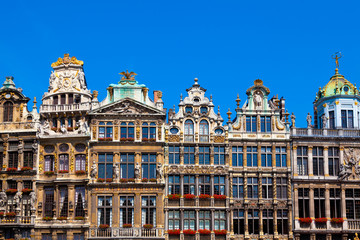 Foto op Plexiglas Brussel Houses on Grand Place, Brussels, Belgium