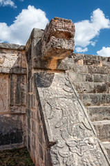 Detail of Kukulcan head at Chichen Itza, Mexico.