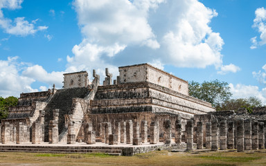 Temple of the Wariorrs in Chichen Itza, the best preserved archaeological site in Yucatan Peninsula in Mexico.