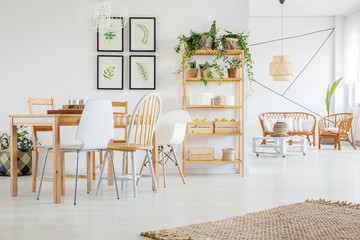 Dining room with green plants