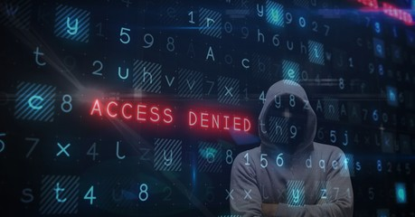 Digital composite image of hacker with access denied text