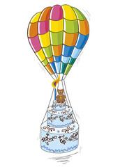 mongolfiera con torta di compleanno per bimbo in volo