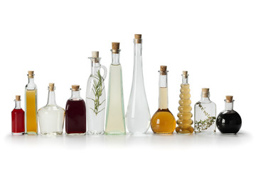 Row of bottles with vinegar