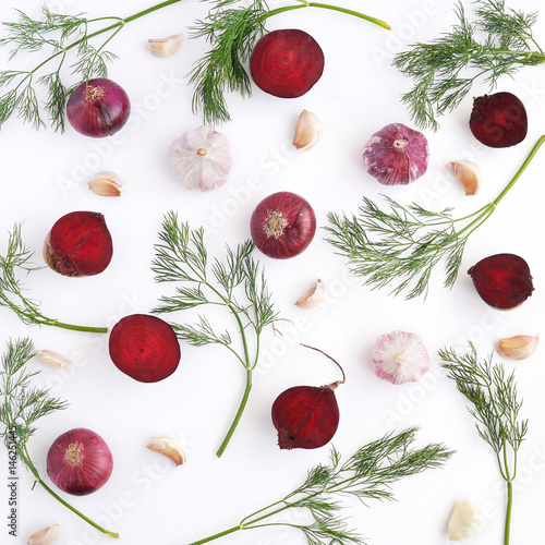 Fototapete Food background pattern from vegetables.