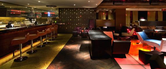 Interior of modern bar area in nightclub