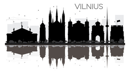 Vilnius City skyline black and white silhouette with reflections.