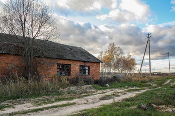 Abandoned brick house, Russian outback.