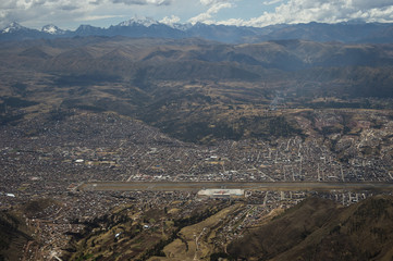 Aerial view of the city of Cusco, in Peru.