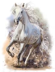 Biały koń prowadzi malarstwo akwarelowe