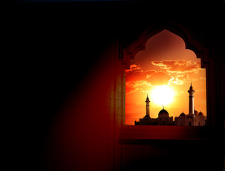 Ramadan Kareem background.Mosque window