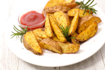 grilled potato and herbs