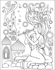 Black and white illustration of fairy playing the flute for coloring. Worksheet for children and adults. Vector image.