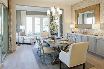 Open plan of dining area and seating area