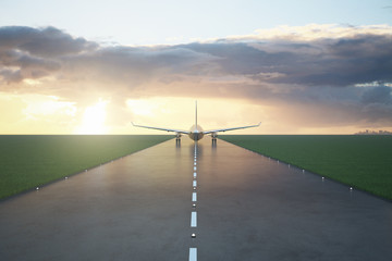 Wall Mural - Aircraft on runway
