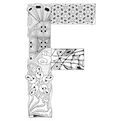 Letter F for coloring. Vector decorative zentangle object