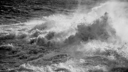 Rough sea in black and white.