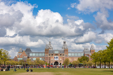 The Rijksmuseum on the museumsquare in Amsterdam the Netherlands.