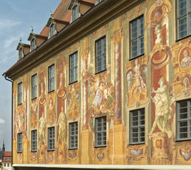Bamberg, old town - colorful mural on the wall of an old building