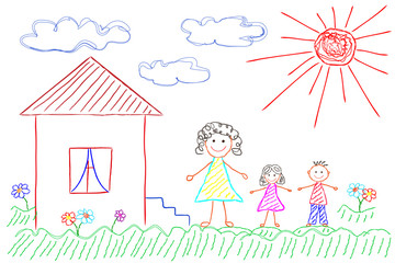 The children's drawing for a Mother's Day,  happy family