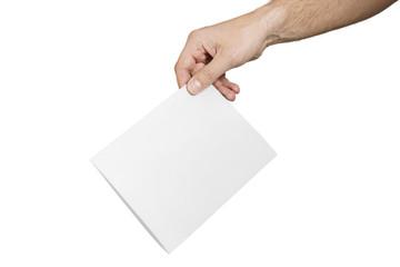 Ręka trzyma kartkę papieru