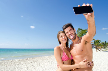Selfie couple at the beach