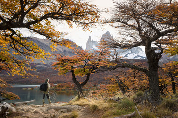 Tourist near Mount Fitz Roy, Patagonia, Argentina