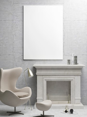 White poster, living room with fireplace, 3d illustration