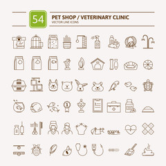 Thin lines web icon set - pet shop, vet clinic, types of pets. Vector illustration in flat style