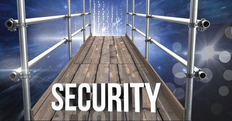 Security Text with 3D Scaffolding and space interface