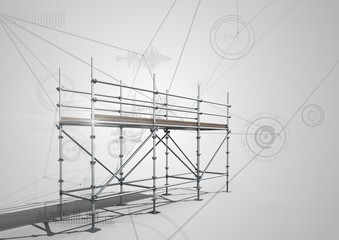 Connections technology background with 3D Scaffolding