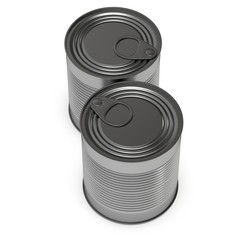 Aluminium can. 3D render of metal canned food isolated on white.