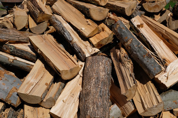 Abstract pile of cut split firewood drying in the sun