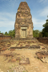 Ancient tower in ruins in Cambodia