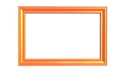 3d rendering of modern isolated hanging orange color photo frame on a white  background