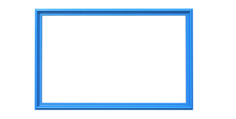 3d rendering of  isolated modern hanging deep blue sky color photo frame on a white background