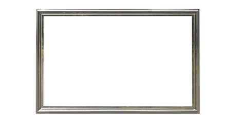 3d rendering of  isolated modern hanging silver color photo frame on a white background