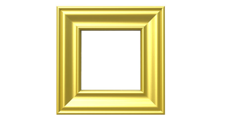 3d rendering of  isolated modern hanging light golden color photo frame on a white background