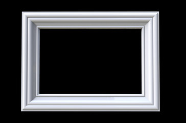3d rendering of  isolated, modern hanging white color photo frame on a black background