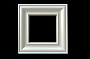 3d rendering of  isolated modern hanging silver color photo frame on a black background