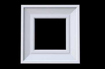 3d rendering of  isolated modern hanging white color photo frame on a black background