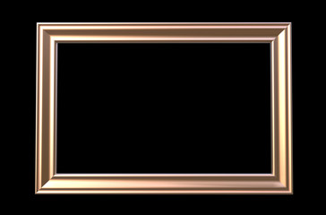 3d rendering of  isolated modern hanging light copper color photo frame on a black background