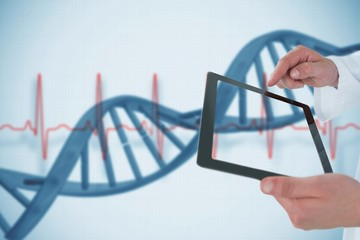 Composing image of man showing tablet in 3d