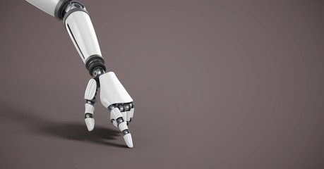 Android Robot hand pointing with brown background