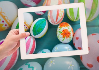 taking photo of Easter eggs with smart phone
