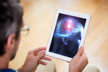 Man using tablet for science