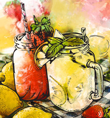 Illustration image of a cocktail. Lemonade