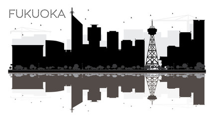 Fukuoka City skyline black and white silhouette with reflections.