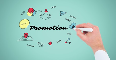 Hand drawing graphics with promotion text on screen