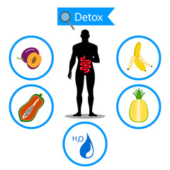 colon symbol on fruit and water with human body. Foods for cleansing your colon healthy concept.